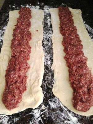 meat on dough